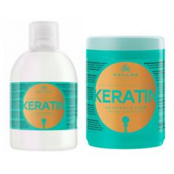 Kallos KJMN Keratin Set Shampoo 1000 ml + Mask 1000 ml