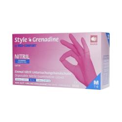 MED COMFORT Style Grenadine Disposable nitrile gloves pink, 100pcs. M