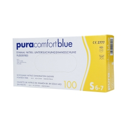 PURA COMFORT Disposable nitrile gloves blue, 100pcs. S