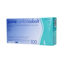PURA COMFORT Disposable nitrile gloves cobalt, 100pcs. L