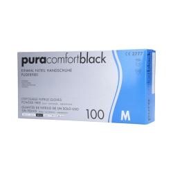 PURA COMFORT Disposable nitrile gloves black, 100pcs. M