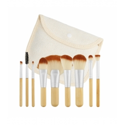 TOOLS FOR BEAUTY Set of 10 travel size bamboo make-up brushes